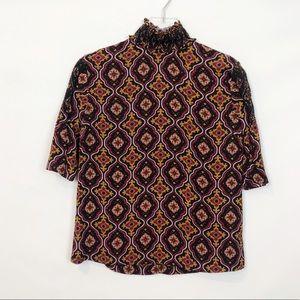 A.L.C Aubrey Medallion Print  Silk Blouse 4